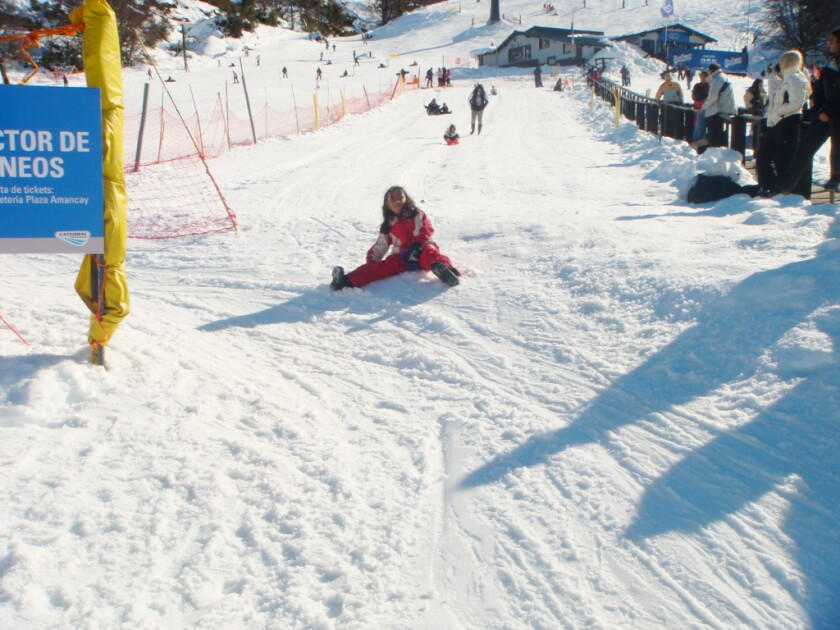 Playing on snow in Bariloche Argentina