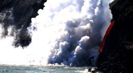 Lava kamokuna ocean Hawaii USA